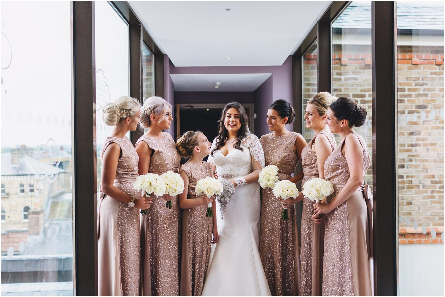 Windsor wedding - bride and bridesmaids at the MacDonald Windsor hotel