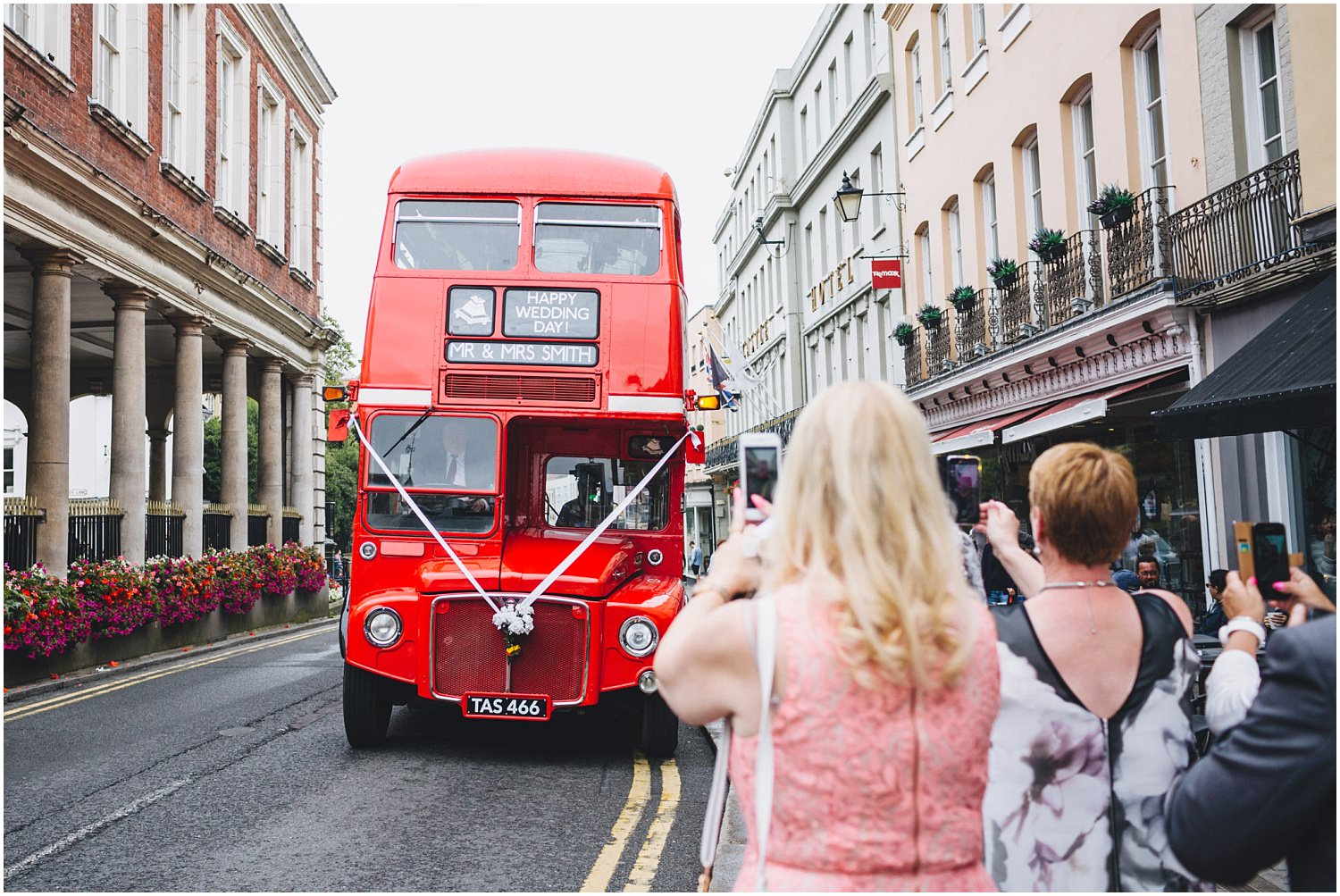 Windsor wedding. Route master bus arrives on Windsor High Street