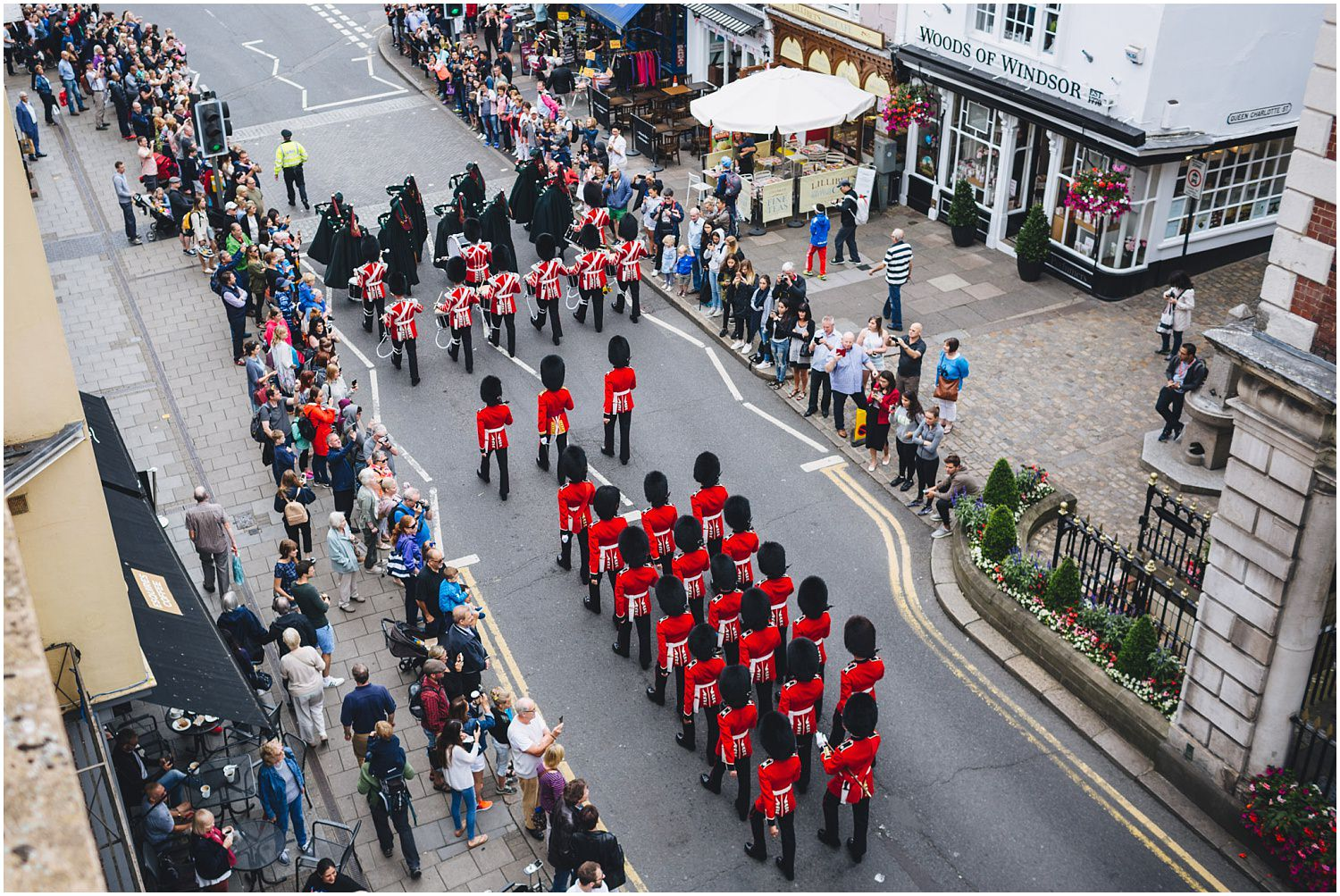 Windsor wedding. Changing of the guards in Windsor seen from the balcony of the MacDonald Windsor hotel
