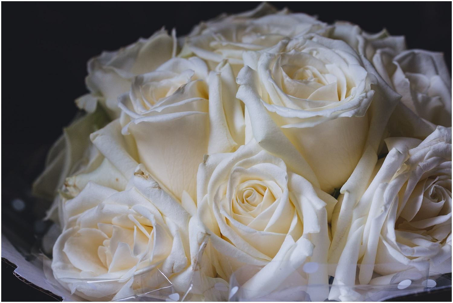 Windsor wedding. Bouquet of white roses