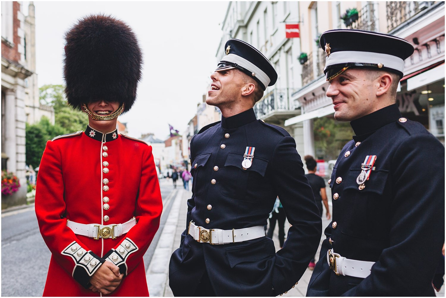Windsor wedding. Coldstream guards on Windsor High Street